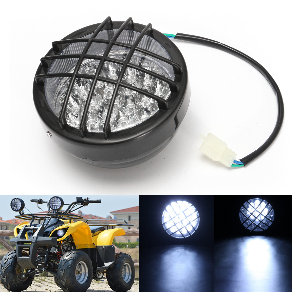 12V Front LED Headlight Lamp For ATV Quad 4 Wheeler Go Kart Roke
