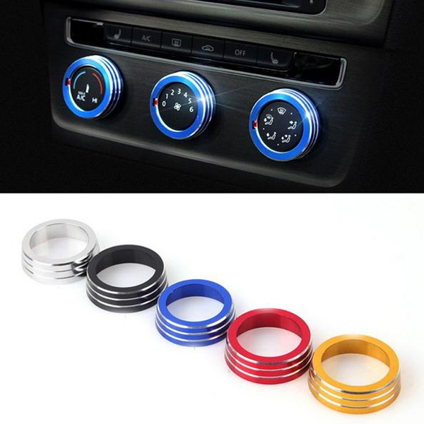 3pcs/Set Cars Alu Decoration Stereo Knob Ring Air Conditioning K