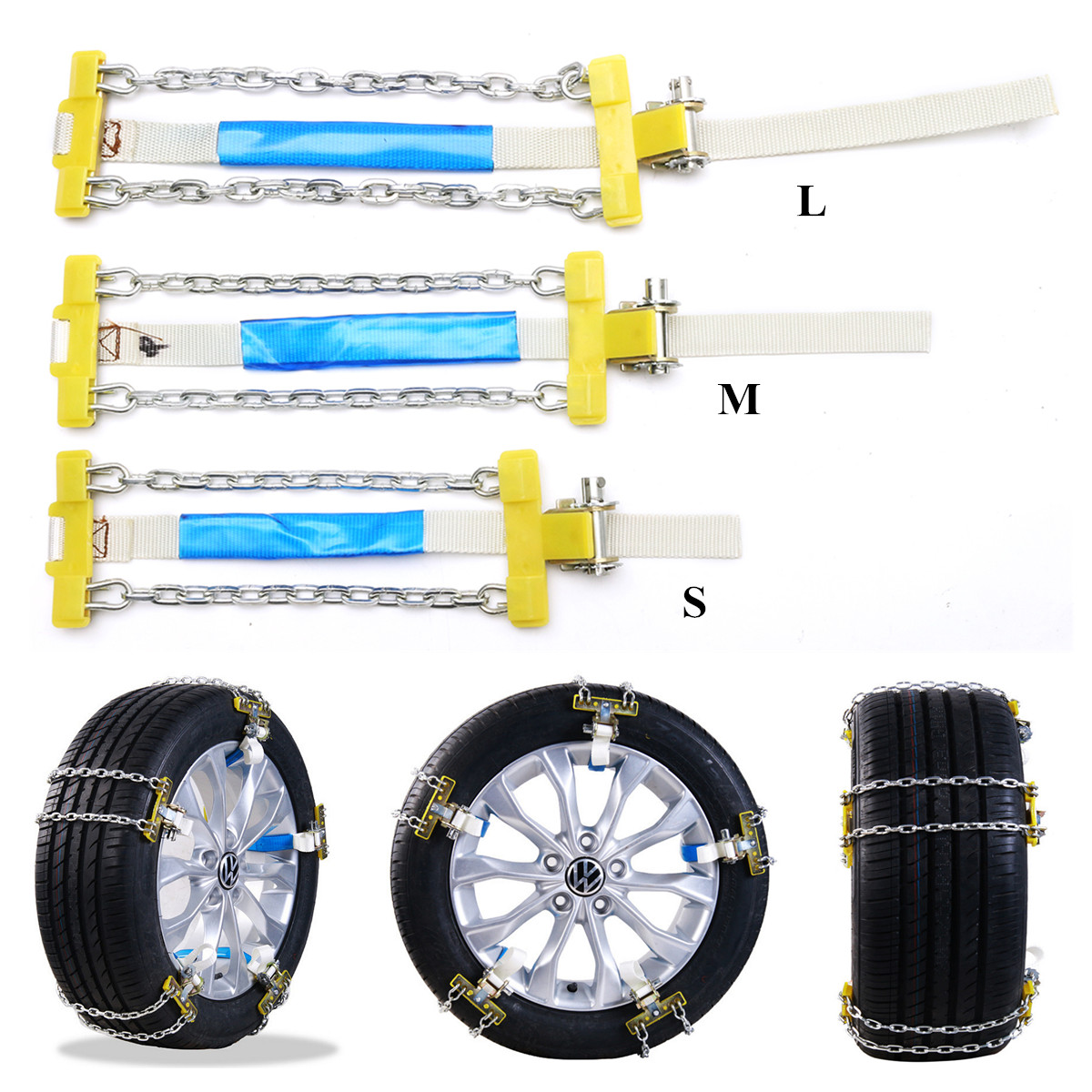 Universal Car Auto Anti-skid Steel Chains Skid Belt Snow Mud San