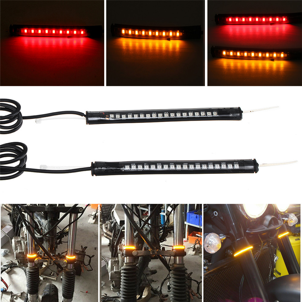 Pair 12V LED Motorcycle Turn Signal Decoration Lights For 39mm-4