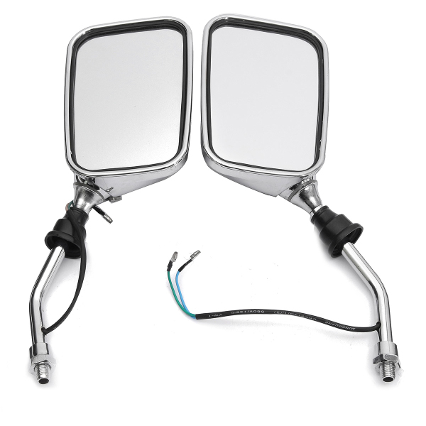 10mm Pair Motorcycle Rearview Side Chrome Mirrors And Turn Signa