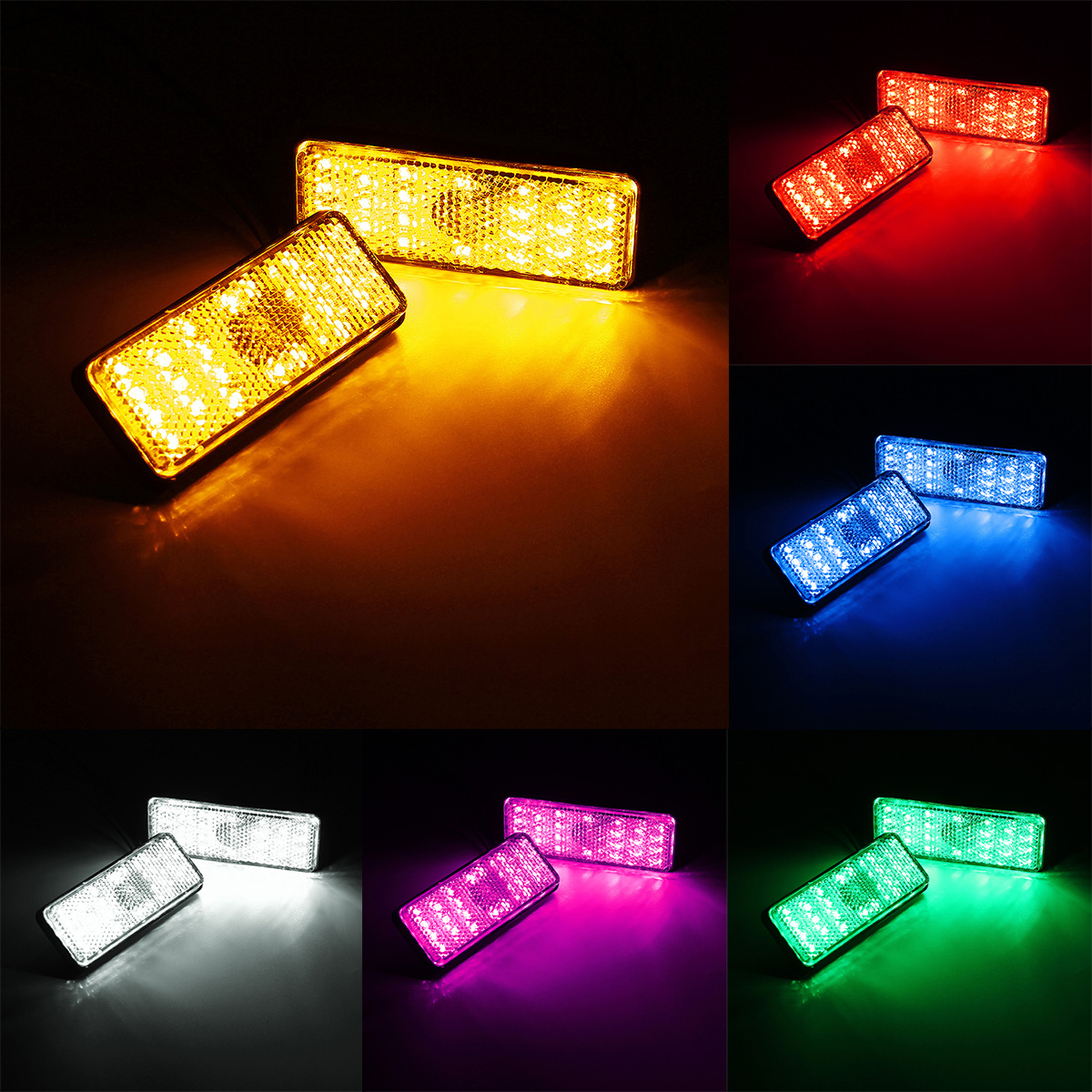 Rectangle Reflector LED Rear Tail Brake Stop Light Car Motorcycl