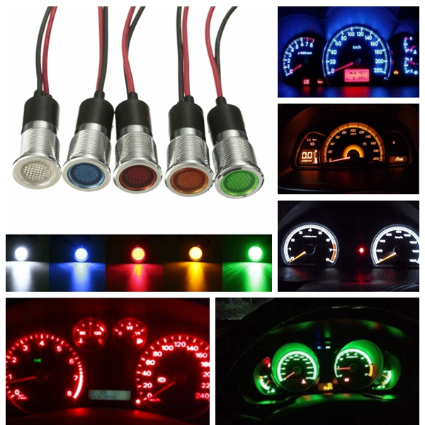 14mm 12V Dash Panel Indicator Warning Light Lamp For Motorcycle