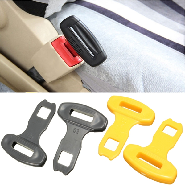 2Pcs Universal Car Safty Seat Belt Buckles Alarm Bleep Stopper C