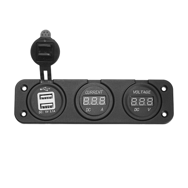 12V/24V Car Motorcycle 3 in 1 Digital Volt Meterr Ammeter USB Ca