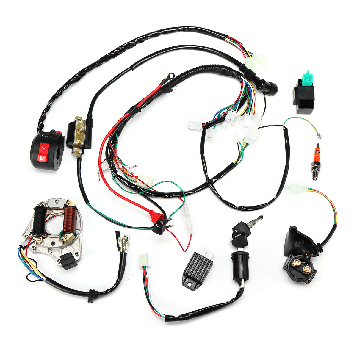50cc 70cc 90cc 110cc Ignition Wiring Harness Kit Assembly ATV Qu