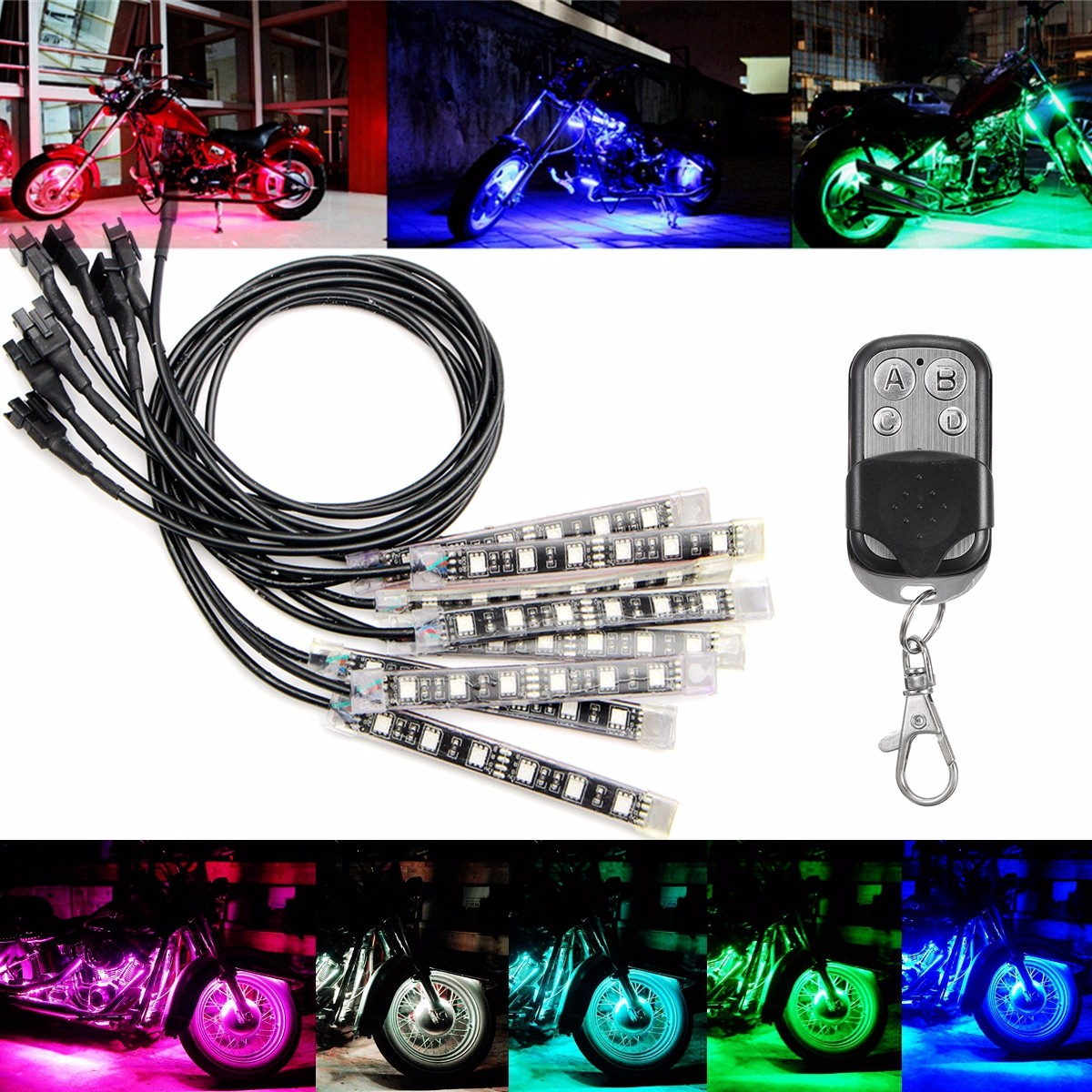 8X Multicolor 5050 LED Remote Light Strip For Kawasaki Honda BMW