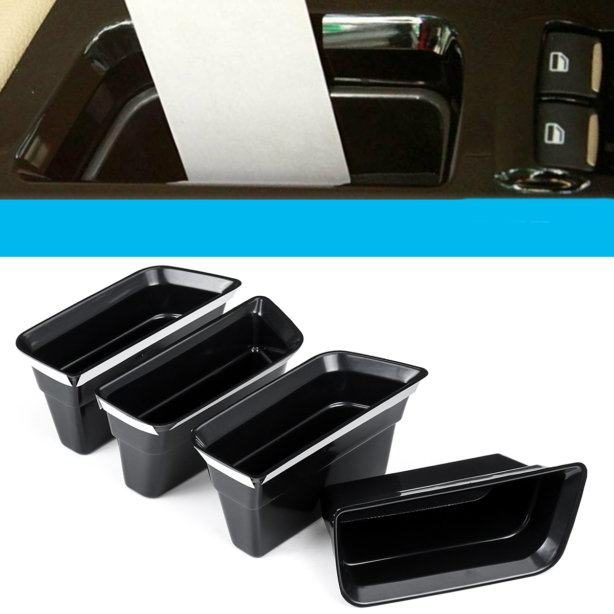 4PCS Front Door Armrest Car Storage Box For Ford Fusion 2013-201